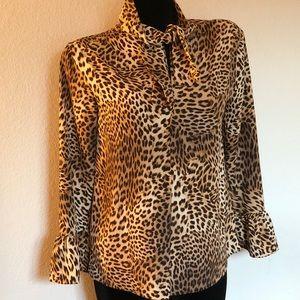 Ellen Tracy leopard print blouse